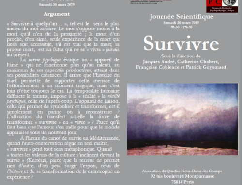 Journée Scientifique GRPC, Paris – « Survivre », 30 mars 2019